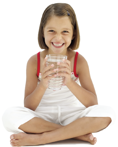 Young girl in white dress drinking clean water